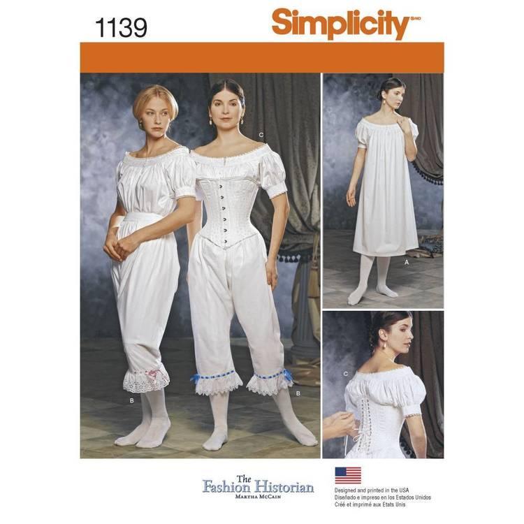 Simplicity Pattern 1139 Misses' Civil War Undergarments