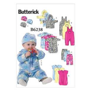 Butterick Pattern B6238 Infants' Jacket Overalls Pants Bunting & Hat
