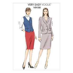 Vogue Pattern V9138 Misses' Jacket Vest & Skirt