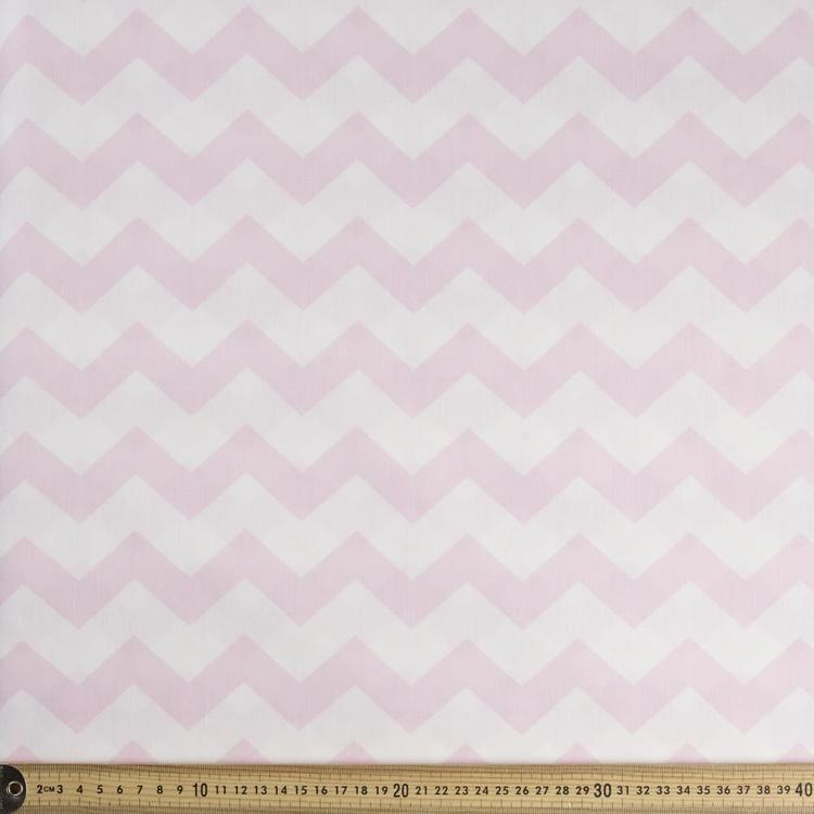 Spots Amp Stripes Chevron Cotton Poplin Chalk Amp Pink