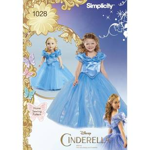 Simplicity Pattern 1028 Disney Cinderella Costume For Child & 18 Inch Doll