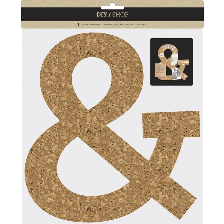 American Crafts DIY Shop 3D Cork Ampersand Natural 10 in