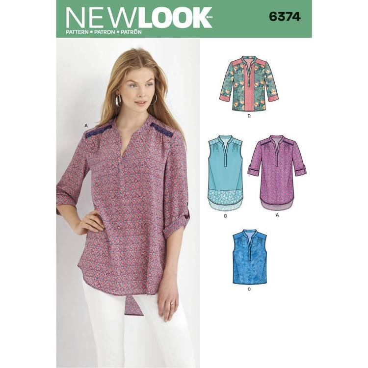New Look Pattern 6374 Misses' Shirts With Sleeve & Length Options