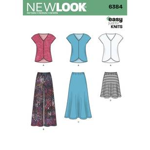 New Look Pattern 6384 Misses' Knit Top Skirt & Pants
