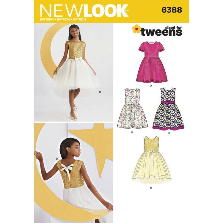 New Look Pattern 6388 Girls' Party Dresses