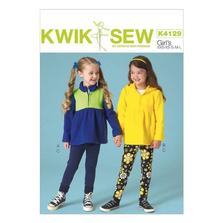 Kwik Sew Pattern K4129 Girls' Zip-Front Jackets & Leggings