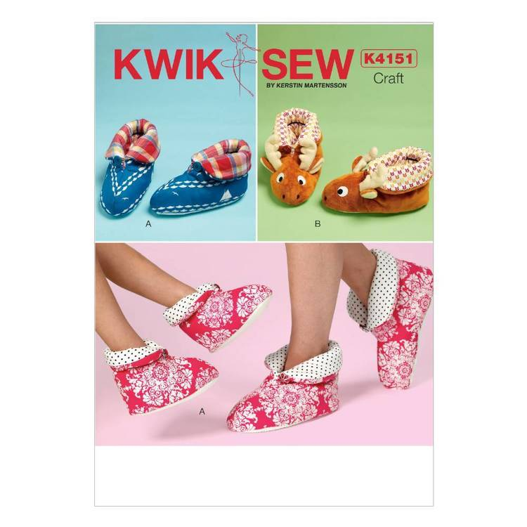 Kwik Sew Pattern K4151 Adults' & Children's Buttoned Slippers