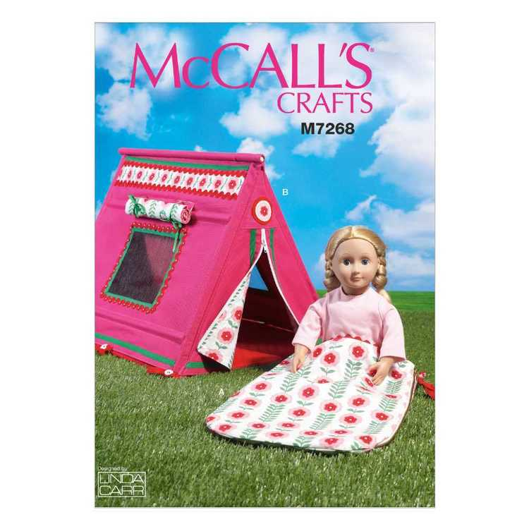 McCall's Pattern M7268 18 Doll's Sleeping Bag & Tent