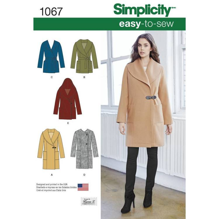 Simplicity Pattern 1067 Misses' Easy-To-Sew Jacket & Coat