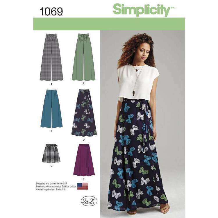 Simplicity Pattern 1069 Misses' Wide Leg Pants & Skirts