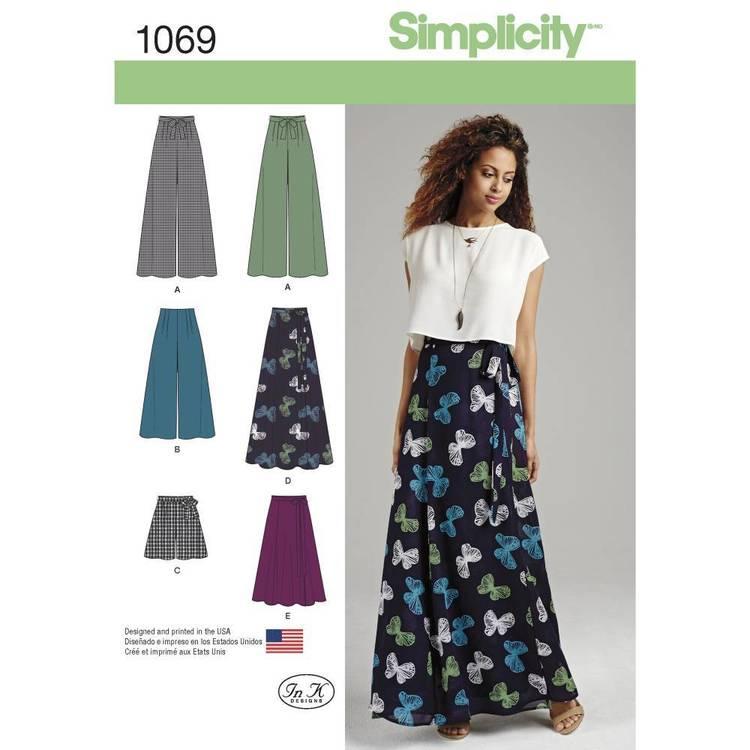 Simplicity Pattern 1069 Misses' Wide Leg Pants & Skirts