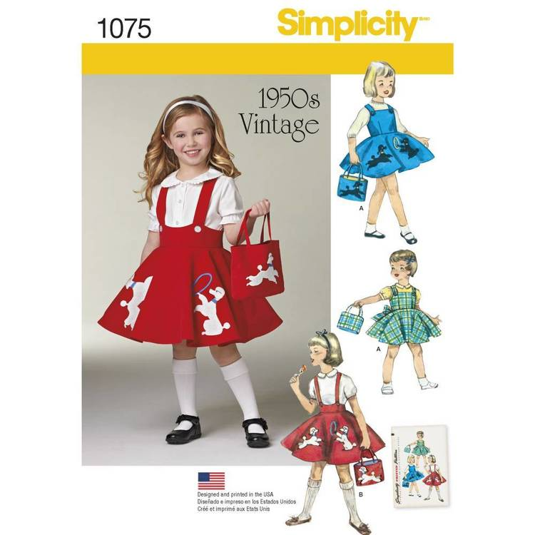 Simplicity Pattern 1075 Child's Jumper Skirt & Bag