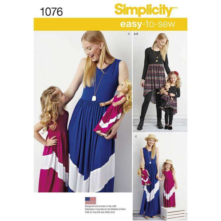 Simplicity Pattern 1076 Child's & Misses' Maxi Dress & Doll Clothes