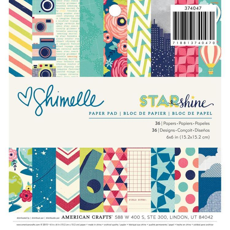 American Crafts Shimelle Star Shine Paper Pad 36 Sheets Multicoloured 6 in