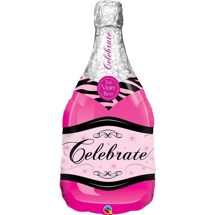Qualatex Celebrate Pink Bubbly Wine Balloon