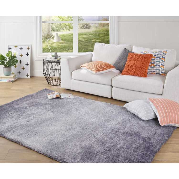 Ombre Pansy Shaggy Rug Grey