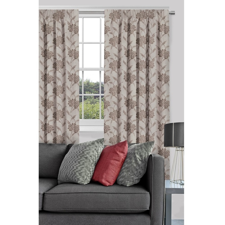 Filigree Evangeline Lined Pencil Pleat Curtain Putty 80 - 140 x 221 cm