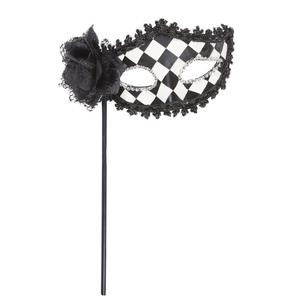 Shamrock Masquerade Check Mask With Flower and Stick