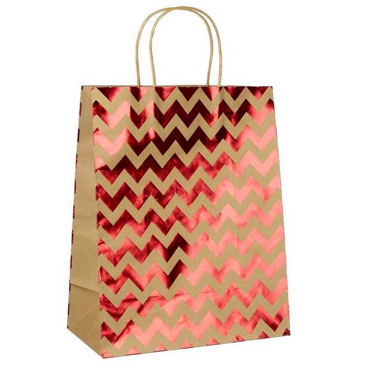 Artwrap Large Foil Chevron Kraft Bag