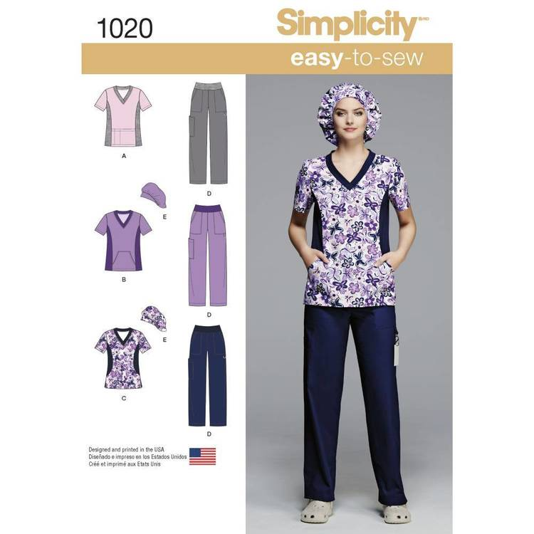 Simplicity Pattern 1020 Misses' & Plus Size Scrubs