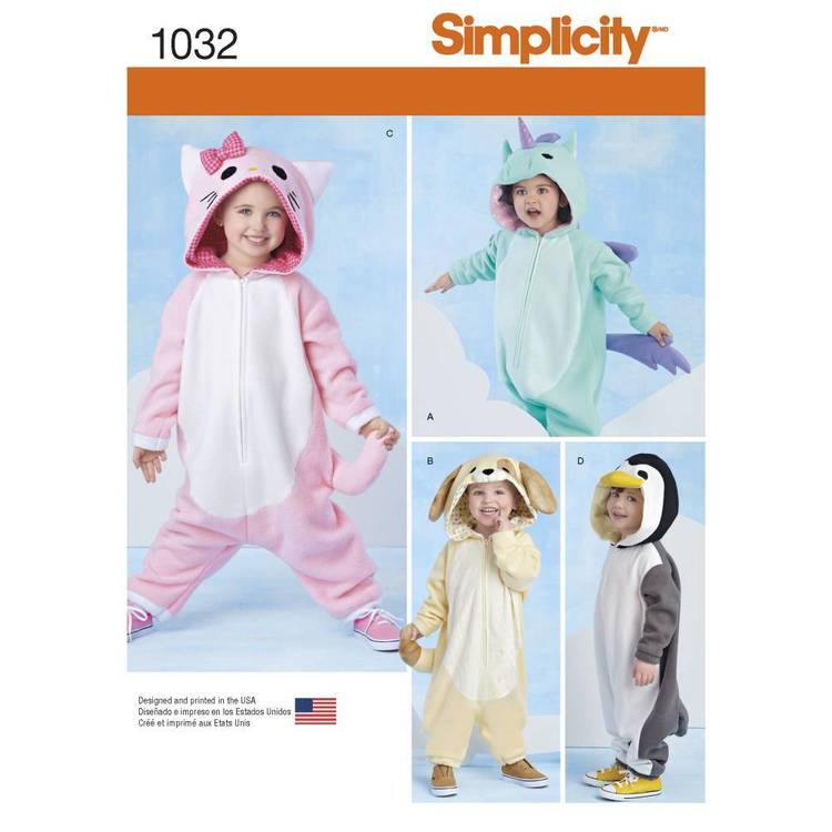 Simplicity Pattern 1032 Toddlers' Animal Costume Pattern