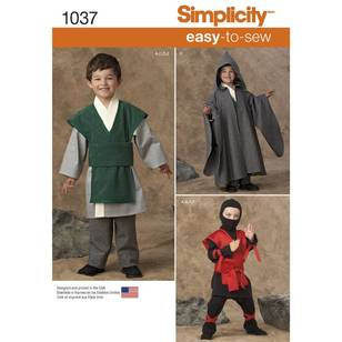 Simplicity Pattern 1037 Boys' Easy To Sew Costume
