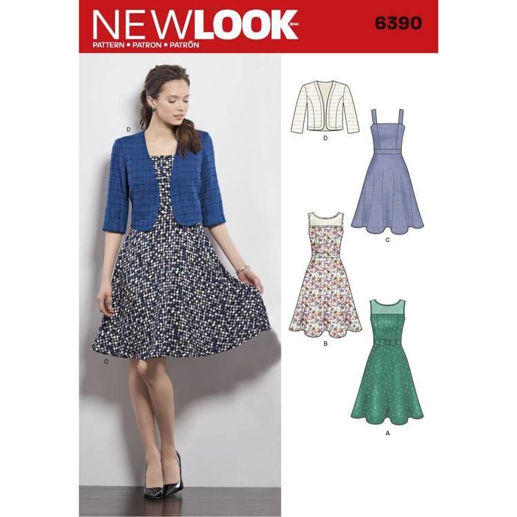 New Look Pattern 6390 Misses' Dresses With Full Skirt & Bolero