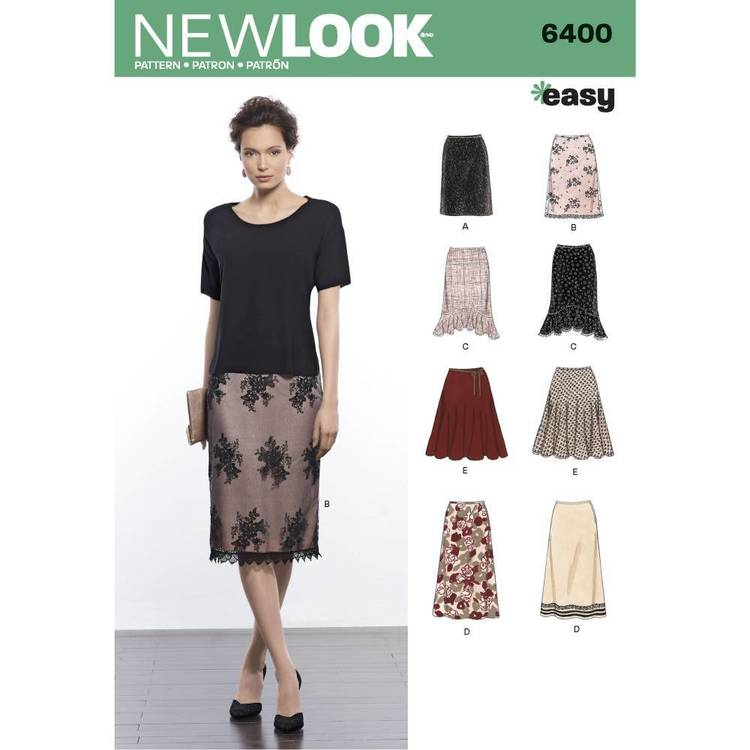 New Look Pattern 6400 Misses' Skirts In Various Styles