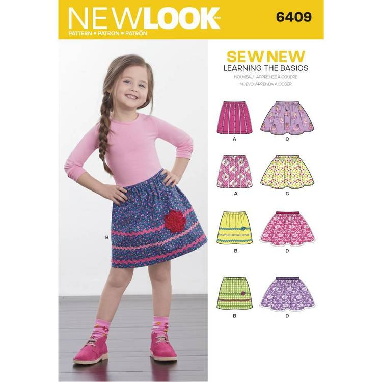 New Look Pattern 6409 Child's Pull-On Skirts