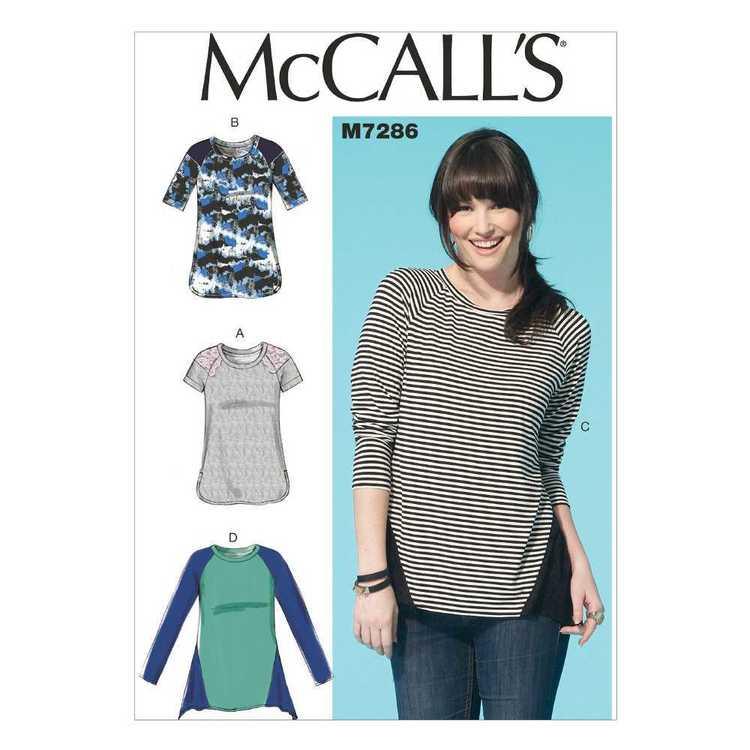 McCall's Pattern M7286 Misses' Raglan Sleeve Tops