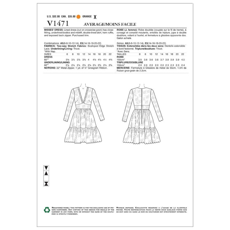 Vogue Pattern V1471 Nicola Finetti Misses' Dress