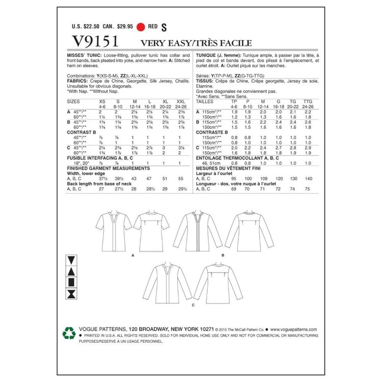 Vogue Pattern V9151 Misses' Tunic