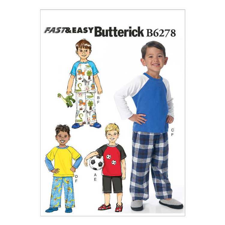 Butterick Pattern B6278 Children's/Boys' Raglan Sleeve Tops