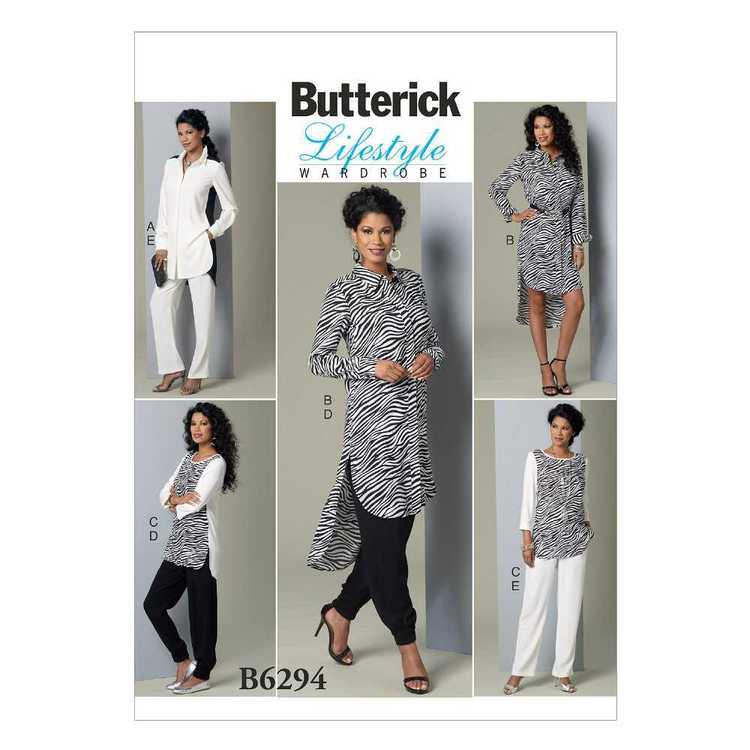 Butterick Pattern B6294 Misses' Curved-Hem Tunics and Elastic-Waist Pants