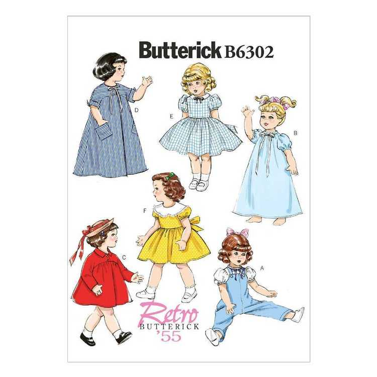 Butterick Pattern B6302 One Size 18 In Doll Clothes