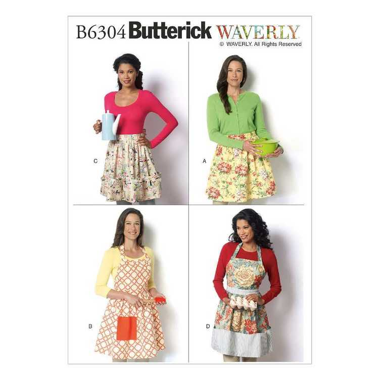Butterick Pattern B6304 Misses' All Size Aprons Waverly Miss