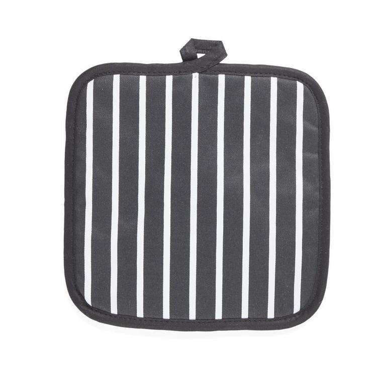 In-Habit Butchers Stripe Pot Holder Black 20 x 20 cm