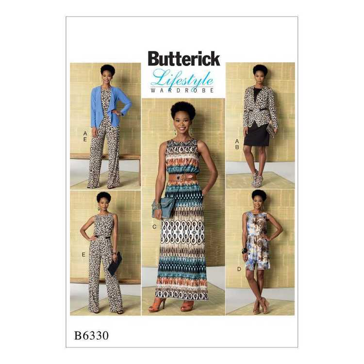 Butterick Pattern B6330 Misses' Jacket Elastic-Waist Dress Romper & Jumpsuit
