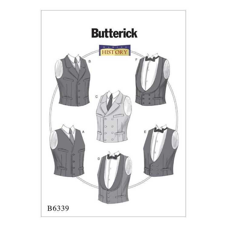 Butterick Pattern B6339 Single Or Double-Breasted Vests