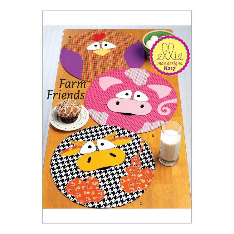 Kwik Sew Pattern Circular Farm Animal Placemats