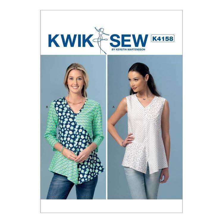 Kwik Sew Pattern Misses' V-Neck Contrast Tops