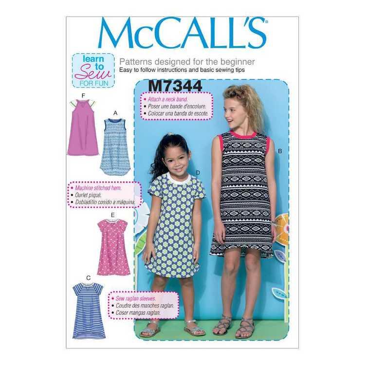McCall's Pattern M7344 Children & Girls' Raglan Sleeve Knit Dresses