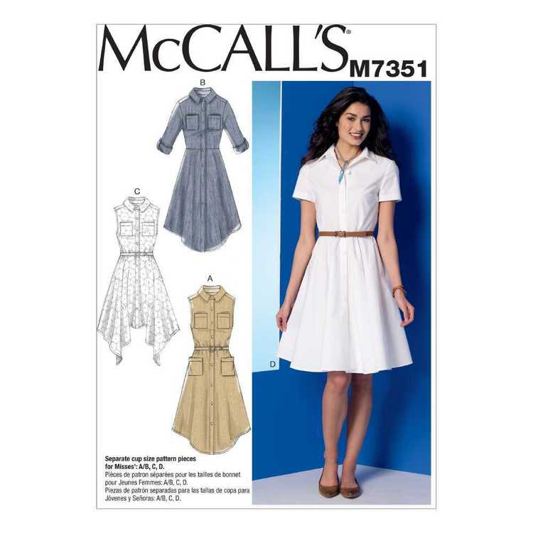 McCall's Pattern M7351 Misses' Shirtdresses With Pockets & Belt