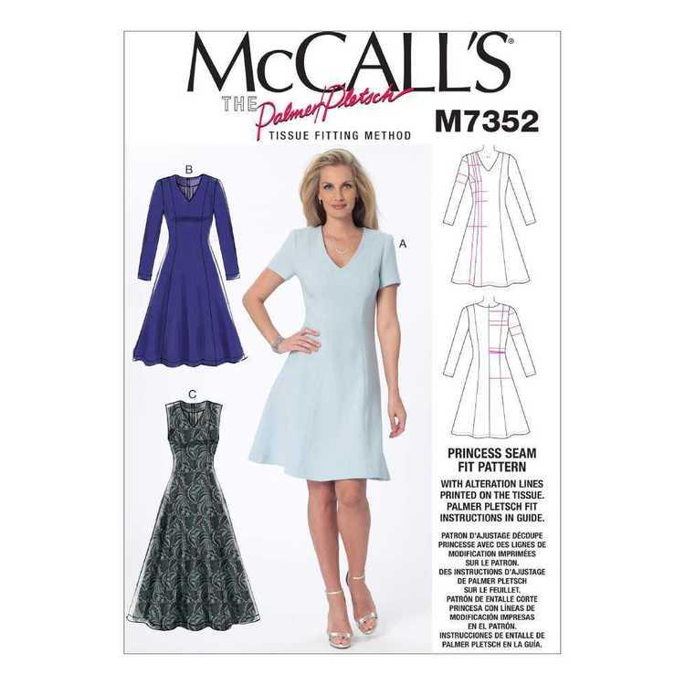 McCall's Pattern M7352 Misses' Jewel & V-Neck Fit & Flare Dresses