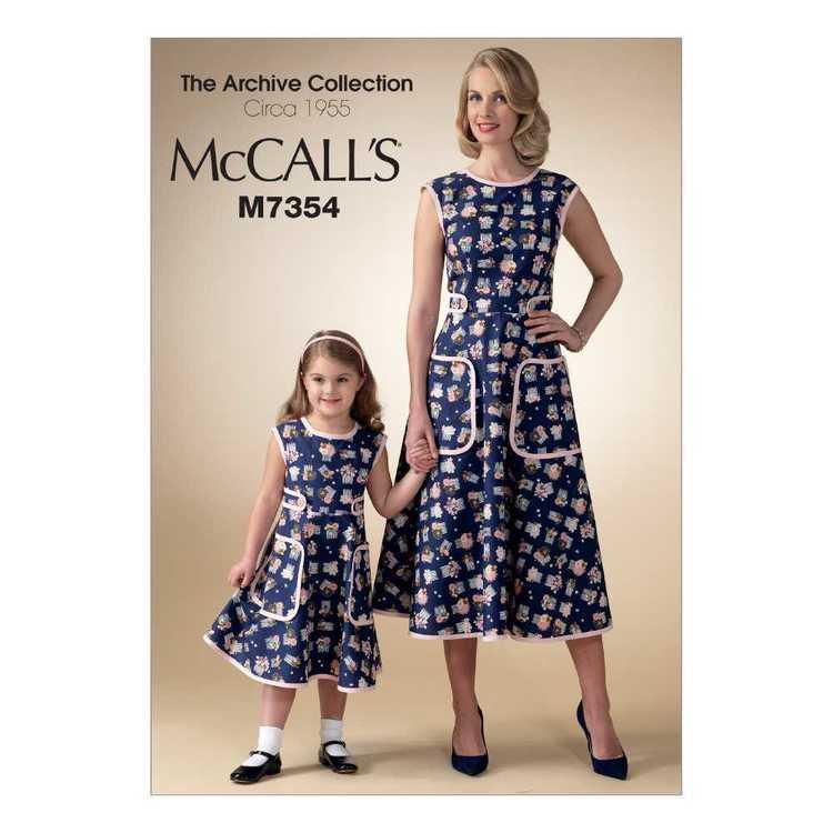 McCall's Pattern M7354 Misses' & Children's & Girls' Matching Back-Wrap Dresses