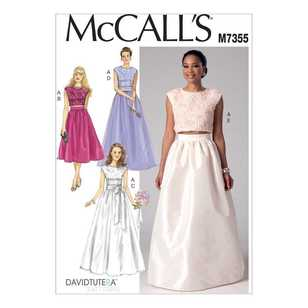 McCall's Pattern M7355 Misses' Crop Top & Gathered Skirts