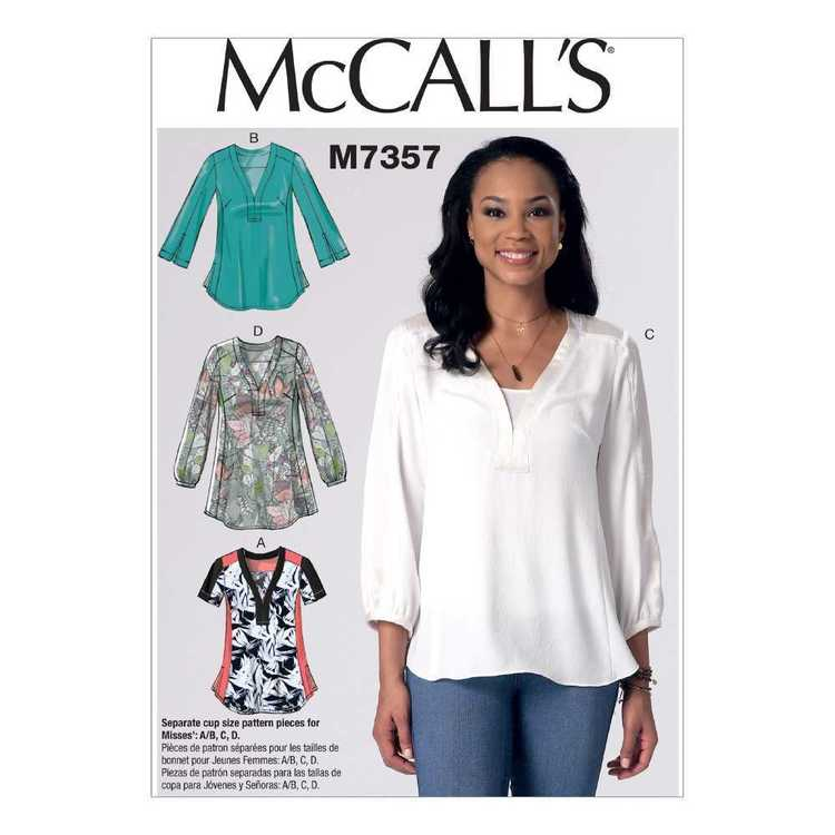 McCall's Pattern M7357 Misses' Banded Tops With Yoke