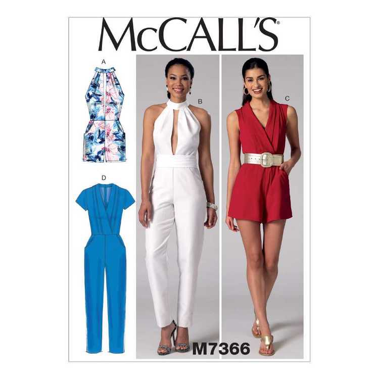 McCall's Pattern M7366 Misses' Pleated Surplice Plunging-Neckline Rompers