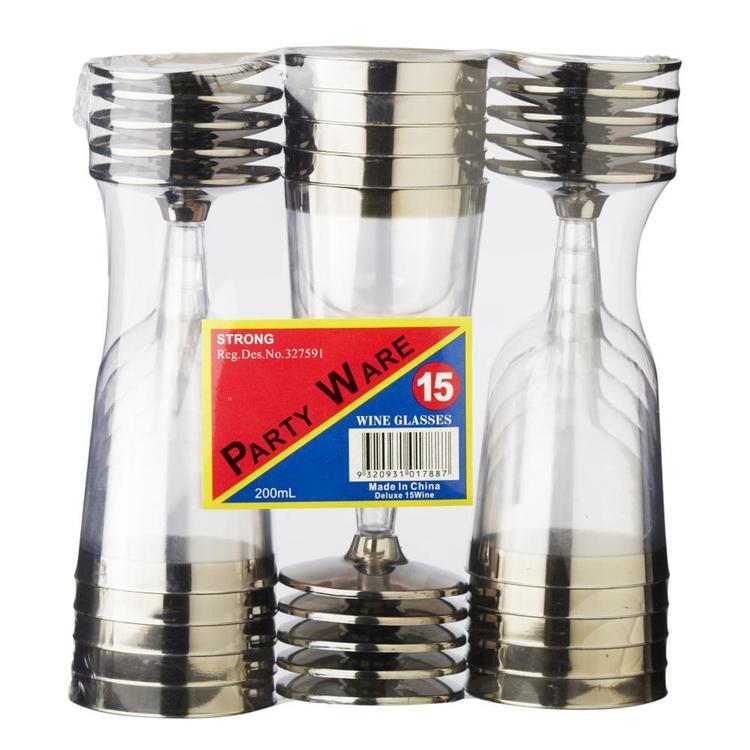 Partyware Wine Glass With Sliver Rim