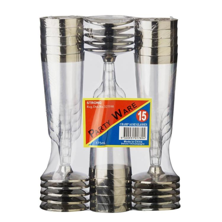 Partyware Champagne Glass With Silver Rim
